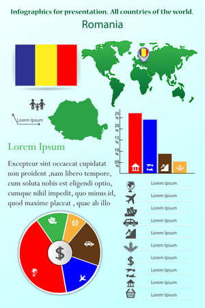 Romania. Infographics for presentation. All countries of the world Ilustracja