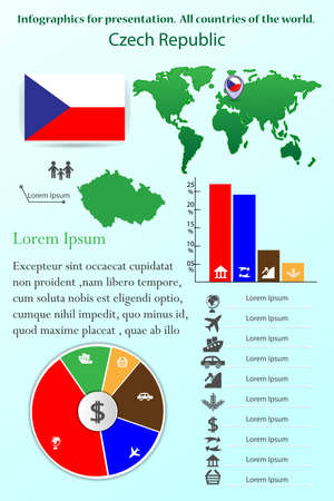 Czech Republic. Infographics for presentation. All countries of the world