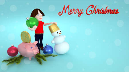 Congratulations on Christmas from the trading company. 3D rendering