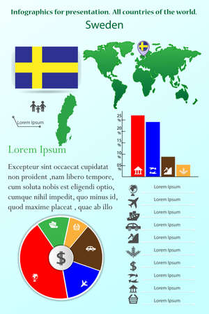 Sweden. Infographics for presentation. All countries of the world Illustration