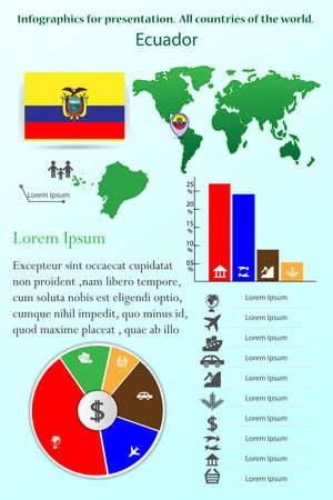Ecuador. Infographics for presentation. All countries of the world