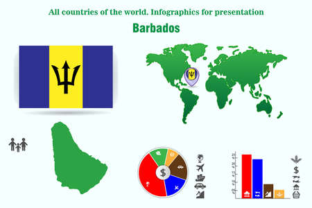 Barbados All countries of the world. Infographics for presentation Illustration