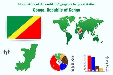 Congo. Republic of Congo. All countries of the world. Infographics for presentation. Congo. Republic of Congo. All countries of the world. Infographics for presentation