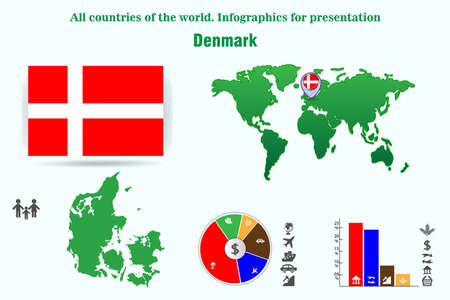 Denmark. All countries of the world. Infographics for presentation. Set of vectors 일러스트