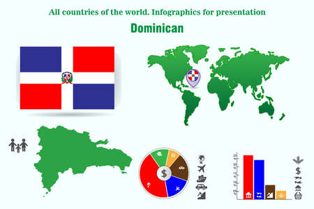 Dominican. All countries of the world. Infographics for presentation. Set of vectors