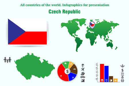 Czech Republic. All countries of the world. Infographics for presentation. Set of vectors