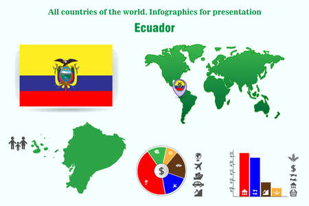 Ecuador. All countries of the world. Infographics for presentation. Set of vectors