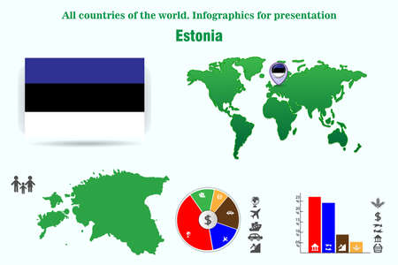 Estonia. All countries of the world. Infographics for presentation. Set of vectors