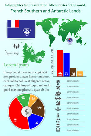 French Southern and Antarctic Lands. Infographics for presentation. All countries of the world. , map, collection 일러스트