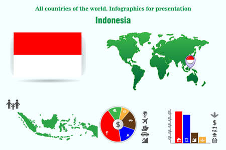 Indonesia. All countries of the world. Infographics for presentation. Set of vectors