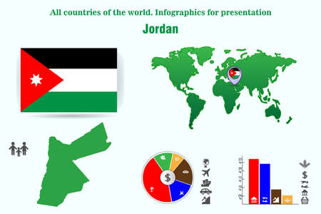 Jordan. All countries of the world. Infographics for presentation. Set of vectors