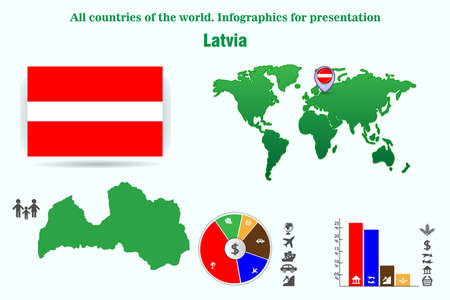 Latvia. All countries of the world. Infographics for presentation. Set of vectors Foto de archivo - 112884849