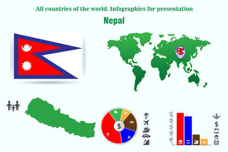 Nepal. All countries of the world. Infographics for presentation. Set of vectors Фото со стока - 112885037