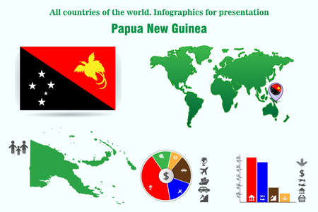 Papua New Guinea. All countries of the world. Infographics for presentation. Set of vectors