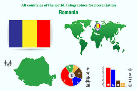 Romania. All countries of the world. Infographics for presentation. Set of vectors
