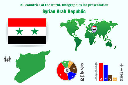 Syrian Arab Republic. All countries of the world. Infographics for presentation. Set of vectors Illustration