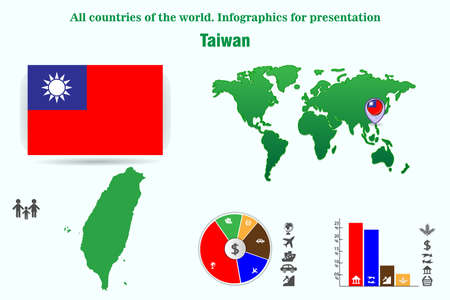 Taiwan. All countries of the world. Infographics for presentation. Set of vectors