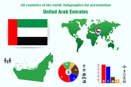 United Arab Emirates. All countries of the world. Infographics for presentation. Set of vectors Ilustração