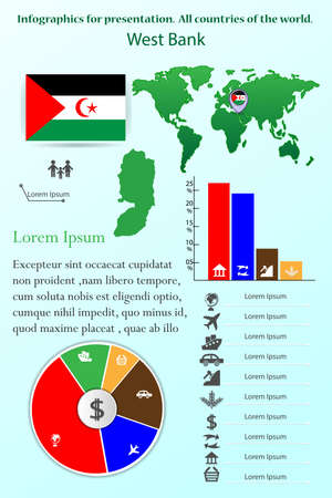 West Bank. Infographics for presentation. All countries of the world, map, collection