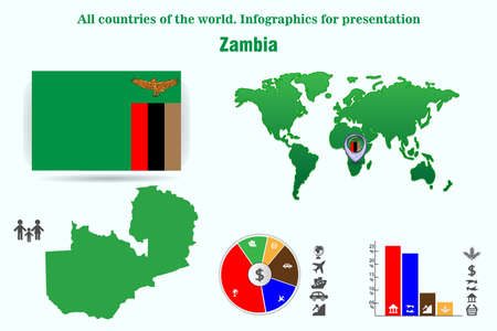 Zambia. All countries of the world. Infographics for presentation. Set of vectors
