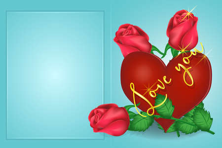 Valentines day greeting card heart, roses, inscription. Vector graphics 向量圖像