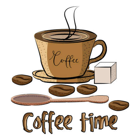 Coffee in a brown glass, a spoon and sugar, time for coffee