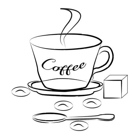 Coffee in a cup, spoon and sugar on a white background, hand drawing Çizim