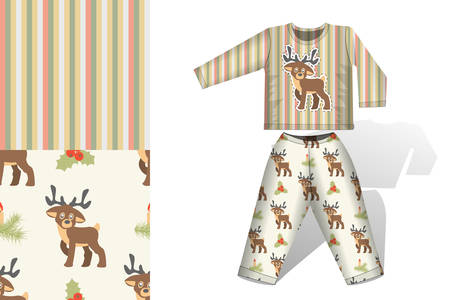 Christmas deer pajamas with mock up and pattern concept for design of fabric and paper for printing illustration Ilustração