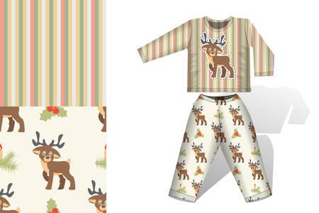 Weihnachts-Hirsch-Pyjamas mit Mock-up und Musterkonzept für die Gestaltung von Stoff und Papier zum Drucken von Illustrationen
