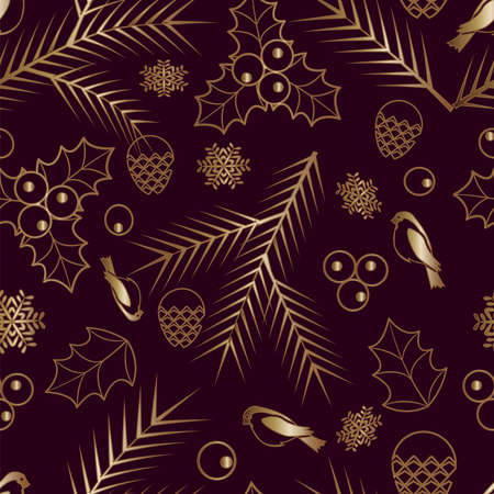 Seamless pattern Gold ornament on a brown background Merry Christmas and Happy New Year