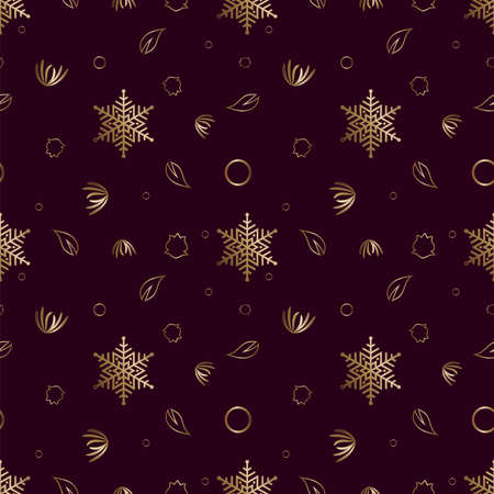 Seamless pattern Gold ornament on a brown background  Merry Christmas and Happy New Year Ilustração