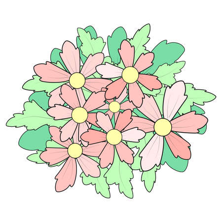 Beautiful pattern with fantasy flowers in a flat cartoon style. Traditional flower bouquet. Great for fashion, cards, invitations.