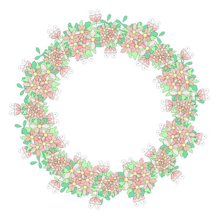 Beautiful pattern with fantasy flowers in a flat cartoon style. Traditional flower wreath. Great for fashion, cards, invitations.