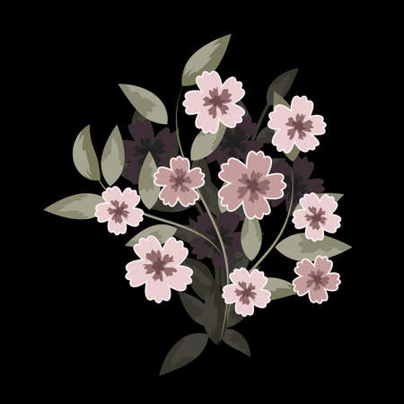 Beautiful pattern with fantasy flowers in a flat cartoon style on a black background. Traditional flower bouquet. Great for fashion, cards, invitations.