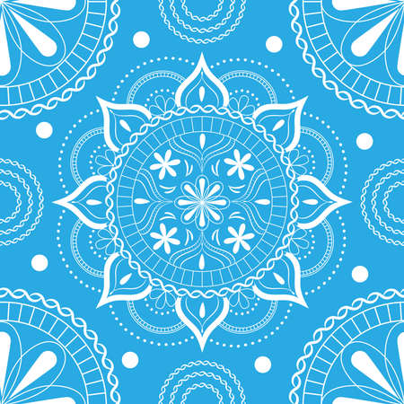 Seamless pattern with delicate flowers in pastel blue and white colors on a white background. Ilustração