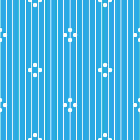 Seamless pattern with picture with stripes and circles in pastel blue and white colors on a white background. Ilustração