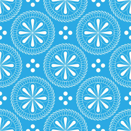 Seamless pattern with beautiful flowers in pastel blue and white colors on a white background. Ilustração