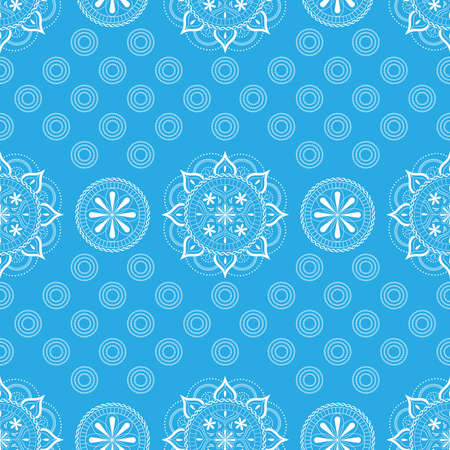 Seamless pattern with lace ornament in pastel blue and white colors on a white background.