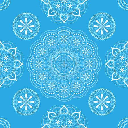 Seamless pattern with openwork floral ornament in pastel blue and white colors on a white background.