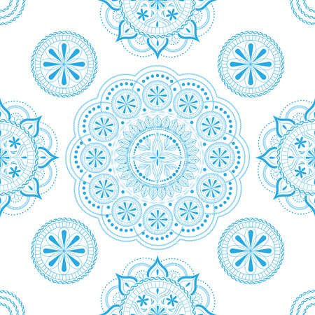 Seamless pattern with openwork floral ornament in pastel white and light blue colors on a white background. Ilustração