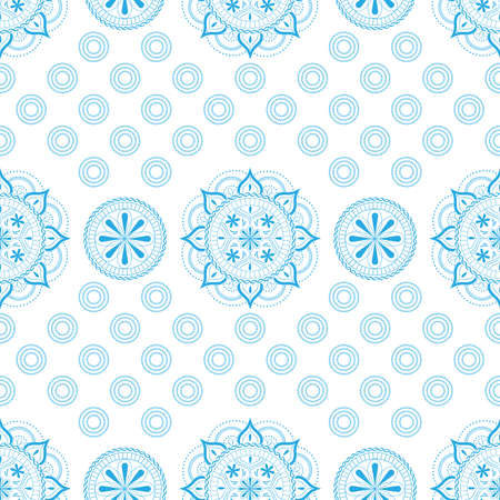 Seamless pattern with lace ornament in pastel light blue colors on a white background.