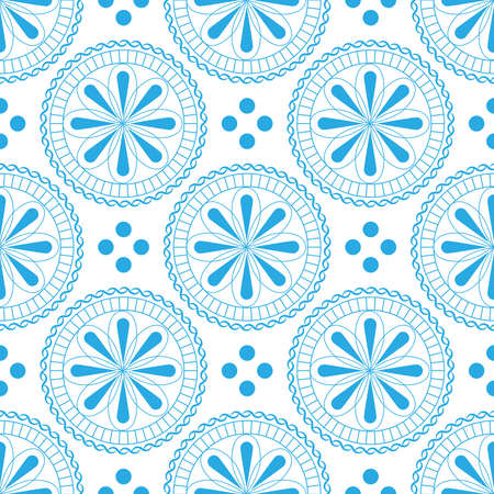 Seamless pattern with beautiful flowers in pastel light blue colors on a white background. Ilustração
