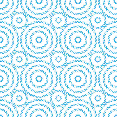 Seamless pattern a picture with openwork circles in pastel light blue colors on a white background.
