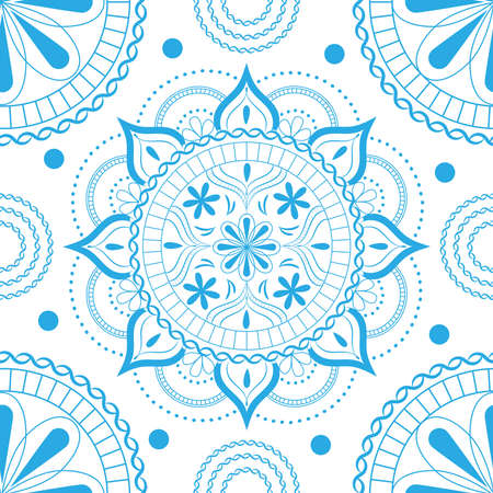 Seamless pattern with delicate flowers in pastel light blue colors on a white background.