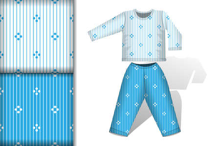 Two seamless patterns with colorful stripes on a white and blue and Pajamas mockup, design concept for fabric and print paper illustration
