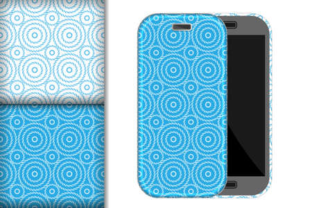 Two seamless patterns with stripes and circles on a white and blue background and mobile phone mockup, design concept for fabric and print paper illustration Ilustração