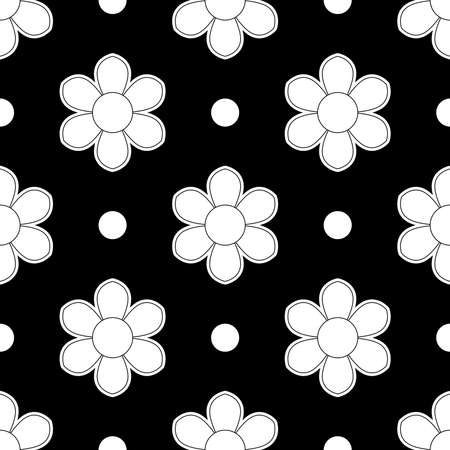 62. Set of seamless flowers in black and white color flower patterns on black background, sample for fabric and print paper. Ilustração
