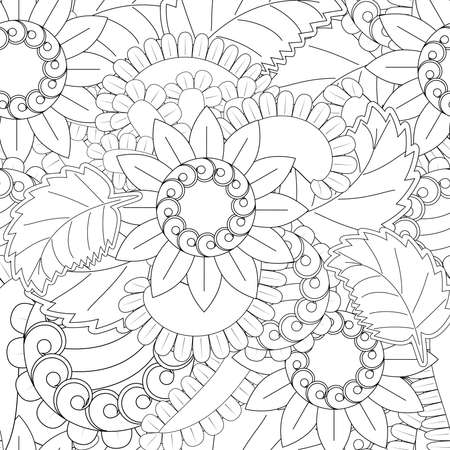 Set of seamless with openwork flowers in black and white color flower patterns on black backgrounds, sample for fabric and print paper.