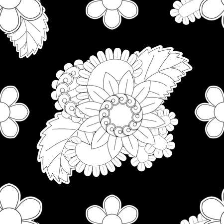 Set of seamless with delicate flowers in black and white color flower patterns on black backgrounds, sample for fabric and print paper.