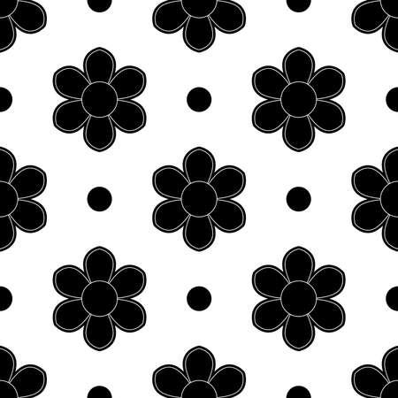 Set of seamless flowers in black and white color flower patterns on white backgrounds, sample for fabric and print paper. Ilustração